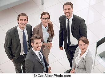 affari persone, ufficio, standing, gruppo, banca