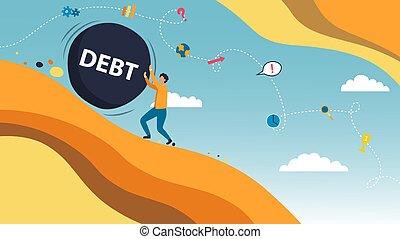 affari, pietra, messaggio, uomo affari, grande, vettore, appartamento, illustrazione, debt., style., concetto, su, illusrtration, spinta