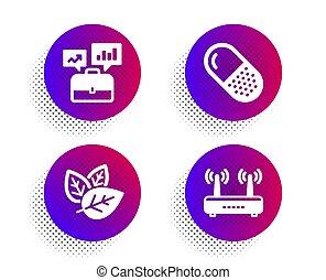 affari, pillola, esaminato, organico, set., wifi, segno., portafoglio, capsula, icone, vettore
