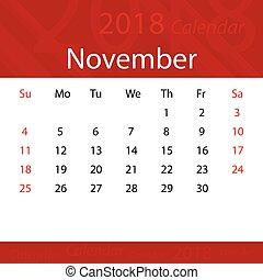 affari, popolare, premio, novembre, 2018, calendario, rosso