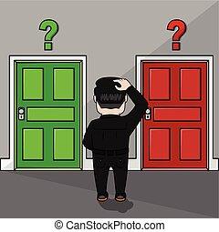 affari, porta, confuso, scegliere, uomo