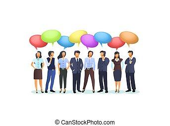 affari, prendere, persone, gruppo, concetto, chat.