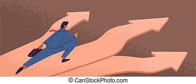affari, prima, uomo affari, frecce, maschio, direzione, vettore, scelta, scegliere, fabbricazione, completo, illustration., development., decisione, appartamento, correndo, modo, soluzione, colorito, cartone animato
