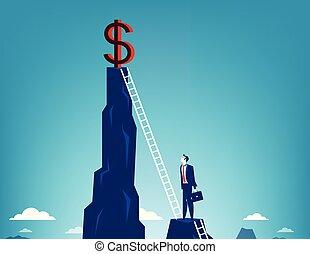 affari, rampicante, uomo affari, segno., concetto, dollaro, vector.