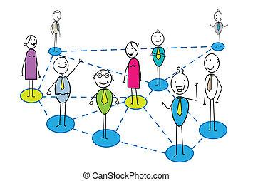 affari, rete, con, molti, affari