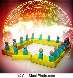 affari, rete, con, persona, collegato