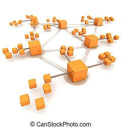 affari, rete, concetto