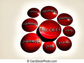 affari, riuscito, concept., business., illustrazione, strategia, componenti