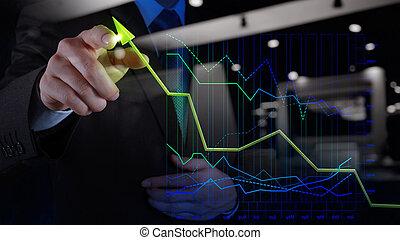 affari, schermo, grafico, virtuale, mano,  computer, tocco, uomo affari, disegno