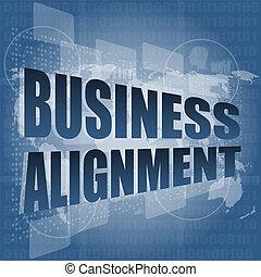 affari, schermo, tocco, parole, interfaccia, allineamento