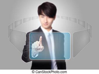 affari, schermo, urgente, tocco, bottone, uomo