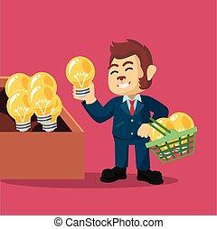 affari, scimmia, acquisto, idea