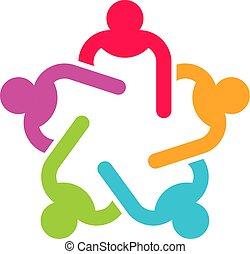affari, seduta, persone, cinque, logotipo, riunione, funzionari