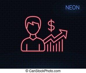 affari, segno., dollaro, risultati, linea, icon.