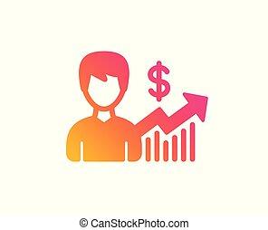 affari, segno., dollaro, risultati, vettore, icon.