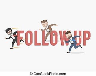 affari, seguire, su, illustrazione, contro