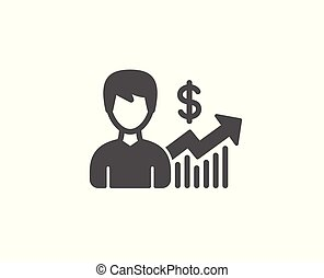 affari, semplice, segno., dollaro, risultati, icon.