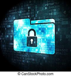 affari, serratura, fondo, digitale, cartella, concept: