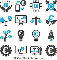 affari, servizio, icone, bancario, attrezzi, euro