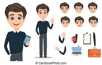 affari, set., creazione, carattere, cartone animato, uomo