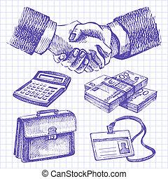 affari, set., illustrazioni, mano, disegnato