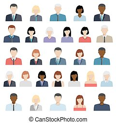 affari, set, persone, icone