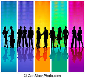 affari, sfondo colorato, persone