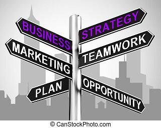 affari, signpost, esposizione, illustrazione, strategia, lavoro squadra, marketing, 3d