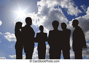 affari, silhouette, su, soleggiato, cielo