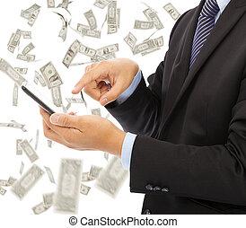 affari, soldi, pioggia, telefono, toccante, fondo, far male, uomo