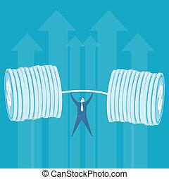 affari, soldi, sollevamento, peso