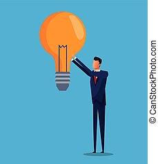 affari, soluzione, idea, disegno, bulbo, uomo