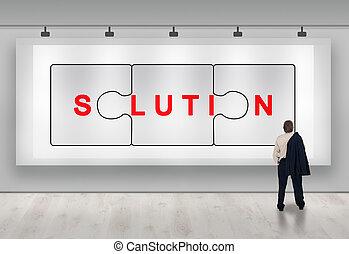 affari, soluzioni, annuncio pubblicitario