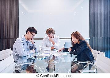 affari, stanza, squadra, multi-etnico, accentato, riunione