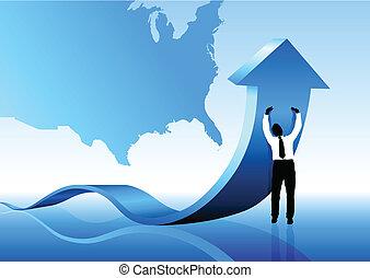 affari, stati uniti, spinta, giovane, recessione, fuori,...