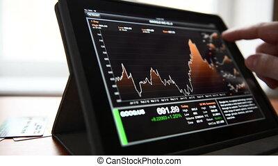 affari, stock, e, citare, su, pc tavoletta