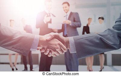 affari, stretta di mano, e, persone affari