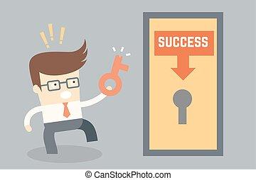 affari, successo, carattere, fallimento, disegno, chiave, concettuale, cartone animato