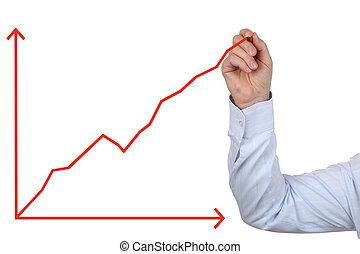 affari, successo, grafico, crescita, disegno, uomo