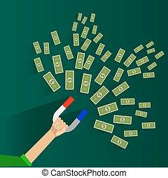 affari, successo, soldi, concept., magnet., dollaro, illustrazione, vettore, investimenti, attirando