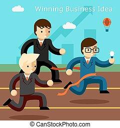 affari, successo, vincente, idea., correndo, innovazione