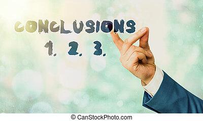 affari, suppositions, concettuale, elenchi, esposizione, mano, 2., testo, presumptions., conclusions, scrittura, numeri, 1., 3.., foto