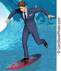 affari, surfer, su, onda blu