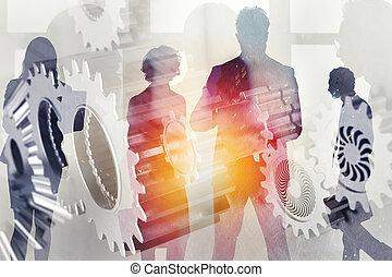 affari, system., doppio, concept., associazione, integrazione, lavoro squadra, ingranaggi, squadra, esposizione