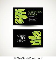 affari, tè, concept., vettore, disegno, desing, logotipo, verde, template., scheda