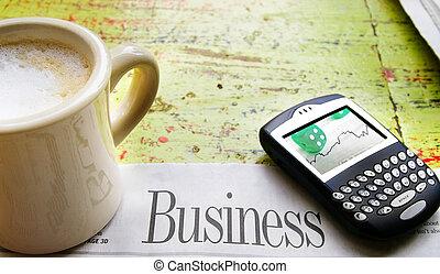 affari, tazza, sezione, caffè, cellulare, giornale