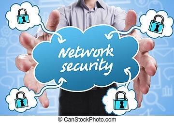 affari, tecnologia, internet, e, marketing., giovane, uomo affari, pensare, about:, sicurezza rete