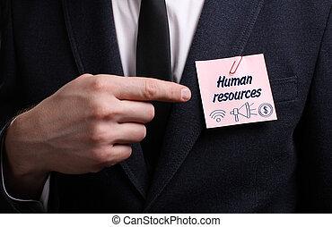 affari, tecnologia, internet, e, rete, concept., giovane, uomo affari, mostra, il, word:, risorse umane