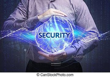affari, tecnologia, internet, e, rete, concept., giovane, uomo affari, mostra, il, word:, sicurezza