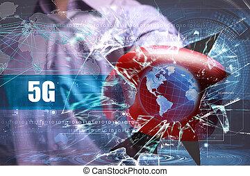 affari, tecnologia, internet, e, rete, security., 5g